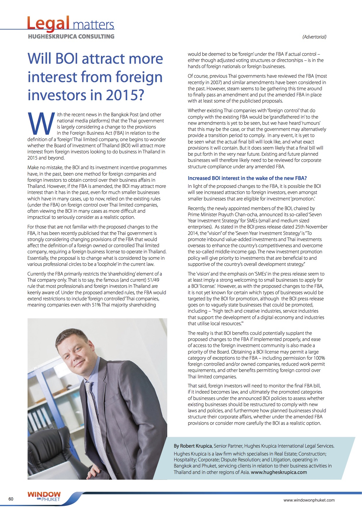 Robert Krupica on Board of Investment Thailand for 2015